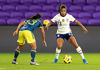 ORLANDO, FL - JANUARY 18: Margaret Purce #23 of the USWNT dribbles during a game between Colombia and USWNT at Exploria Stadium on January 18, 2021 in Orlando, Florida.