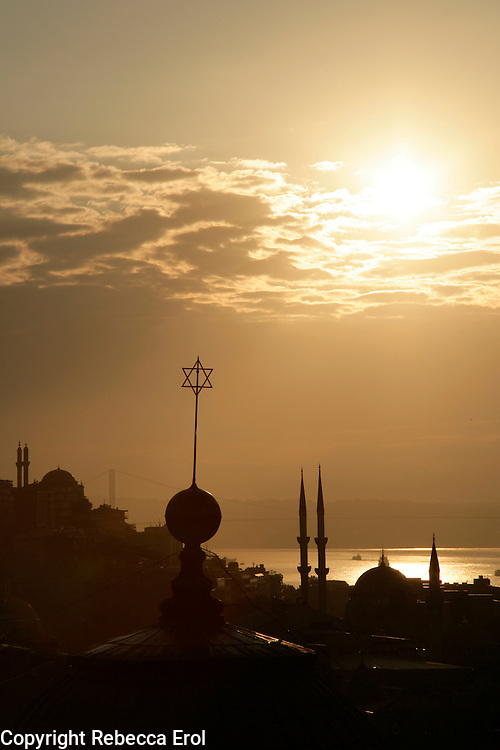 VIEW OF THE EUROPEAN SIDE AND THE BOSPHORUS AT DAWN, ISTANBUL, TURKEY: a synagogue and mosques