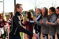 Sky Blue FC midfielder Sophie Schmidt (16) greets fans prior to playing the Western New York Flash. Sky Blue FC defeated the Western New York Flash 1-0 during a National Women's Soccer League (NWSL) match at Yurcak Field in Piscataway, NJ, on April 14, 2013.