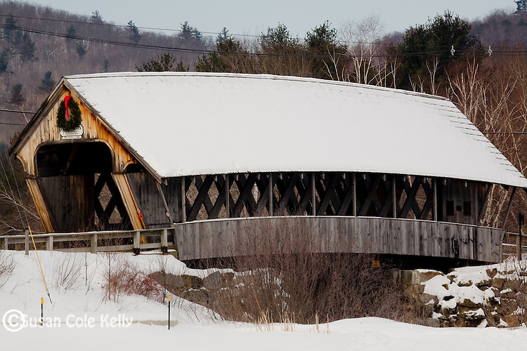 Fresh snow on the Squam River Bridge in Holderness, Lakes Region, NH