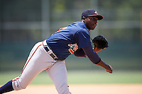 GCL Braves relief pitcher Brandon T. White (67) during a game against the GCL Pirates on August 10, 2016 at Pirate City in Bradenton, Florida.  GCL Braves defeated the GCL Pirates 5-1.  (Mike Janes/Four Seam Images)