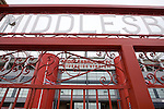 Middlesbrough 1 Preston North End 1, 22/01/2011. Riverside Stadium, Championship. The facade of Middlesbrough FC's Riverside Stadium seen from the historic iron club gates located in the car park on the day the club played host to Preston North End in an Npower Championship fixture. The match ended in a one-all draw watched by a crowd of 16,157. Middlesbrough relocated from their former home at Ayresome Park in 1995. Photo by Colin McPherson.