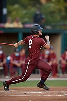 Macon Bacon Jordan Rathbone (2) bats during a Coastal Plain League game against the Savannah Bananas on July 15, 2020 at Grayson Stadium in Savannah, Georgia.  (Mike Janes/Four Seam Images)