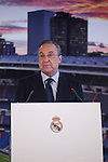 Real Madrid's President Florentino Perez  announces Sergio Ramos contract renewal during a press conference in Madrid, Spain. August 17, 2015. (ALTERPHOTOS/Victor Blanco)