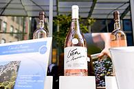 Still life photo of bottles of wine on display.