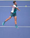 Roger Federer (SUI) defeats Leonardo Mayer (ARG) 6-1, 6-2, 6-2 at the US Open in Flushing, NY on September 1, 2015.