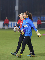 Goalkeeper Lisan Alkemade (16 PSV) and goalkeeper Cecilia Santiago (12 PSV)  pictured before a female soccer game between PSV Eindhoven Vrouwen and Barcelona, in the round of 32, 1st leg of Uefa Womens Champions League of the 2020 - 2021 season , Wednesday 9th of December 2020  in , Eindhoven, the Netherlands. PHOTO SPORTPIX.BE | SPP | SEVIL OKTEM