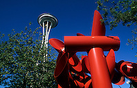 Architecture and sculpture. Space Needle in Pacific Northwest city, Seattle, Washinton, USA