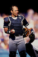 Jim Leyritz of the San Diego Padres participates in a Major League Baseball game at Dodger Stadium during the 1998 season in Los Angeles, California. (Larry Goren/Four Seam Images)