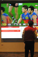 A fan watches the big screen in the mezzanine bar during the ANZAC Day AFL match between St Kilda Saints and Brisbane Lions at Westpac Stadium, Wellington, New Zealand on Friday, 25 April 2014. Photo: Dave Lintott / lintottphoto.co.nz