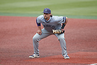 Old Dominion Monarchs first baseman Matt Coutney (21) on defense against the Charlotte 49ers at Hayes Stadium on April 23, 2021 in Charlotte, North Carolina. (Brian Westerholt/Four Seam Images)