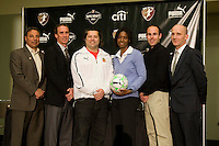 WPS head coachesTony DiCicco, Jim Gabarra, James Galanis,, Aaran Lines, Paul Riley, and general manager Briana Scurry pose after the 2011 WPS draft held at the annual NSCAA convention in the Baltimore Convention Center.
