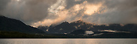 Evening at lake Te Anau, Fiordland National Park, UNESCO World Heritage Area, Southland, New Zealand, NZ