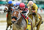ELMONT, NY - OCTOBER 01: Paulassilverlining #4, ridden by John Velazquez, wins the Gallant Bloom Stakes on Turf Classic Day at Belmont Park on October 1, 2016 in Elmont, New York. (Photo by Scott Serio/Eclipse Sportswire/Getty Images)