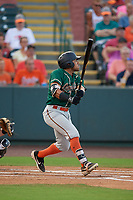 Greensboro Grasshoppers Jonah Davis (36) bats during a South Atlantic League game against the Delmarva Shorebirds on August 21, 2019 at Arthur W. Perdue Stadium in Salisbury, Maryland.  Delmarva defeated Greensboro 1-0.  (Mike Janes/Four Seam Images)