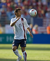 Kamani Hill eyes the ball. The USA defeated China, 4-1, in an international friendly at Spartan Stadium, San Jose, CA on June 2, 2007.