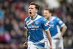Hearts v St Johnstone…05.11.16  Tynecastle   SPFL<br />Danny Swanson celebrates his goal<br />Picture by Graeme Hart.<br />Copyright Perthshire Picture Agency<br />Tel: 01738 623350  Mobile: 07990 594431