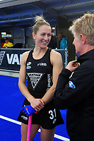 NZ's Stacey Michelsen talks to NZ media manager Jo Perry after the Sentinel Homes Trans Tasman Series hockey match between the New Zealand Black Sticks Women and the Australian Hockeyroos at Massey University Hockey Turf in Palmerston North, New Zealand on Sunday, 30 May 2021. Photo: Dave Lintott / lintottphoto.co.nz