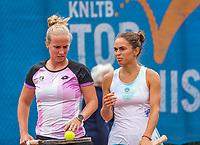 Amstelveen, Netherlands, 6 Juli, 2021, National Tennis Center, NTC, Amstelveen Womans Open, Womans doubles: Richel Hogenkamp (NED) (L) and Valentini Grammattikopoulou (GRE)<br /> Photo: Henk Koster/tennisimages.com