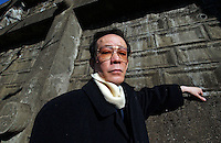 Issei Sagawa, the notorious Japanese cannibal poses on next to a prison in Chiba. Sagawa killed and ate  Dutch student Renee Hartevelt while studying in Paris in 1981. He escaped prison and was released in Japan due to political connections after being jailed then placed in a mental institution in Paris. <br /> 14-DEC-05