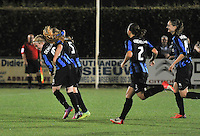 20130906 - VARSENARE , BELGIUM : Brugge's Silke Demeyere (left) pictured celebrating her 2-0 with teammates during the female soccer match between Club Brugge Vrouwen and ADO DEN HAAG Dames , of the third matchday in the BENELEAGUE competition. Friday 06 th September 2013. PHOTO JOKE VUYLSTEKE
