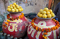 India, Rishikesh.  Limes, Sodas, Marigolds.