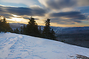 Sunrise from the summit of Mount Pemigewasset in Lincoln, New Hampshire USA on a cloudy morning.