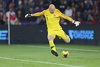 ORLANDO, FL - NOVEMBER 15: Brad Guzan #1 of the United States sends a ball downfield during a game between Canada and USMNT at Exploria Stadium on November 15, 2019 in Orlando, Florida.