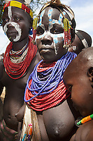 Ethiopia. Southern Nations, Nationalities, and Peoples' Region. Omo Valley. Korcho Village. Kara tribe. Agro-pastoralist group. The Kara women are best known for the elaborate body painting they indulge in before important ceremonies. They paint their faces and bodies in white chalk. Scarification plays an important role in Kara body decoration. The Omo Valley, situated in Africa's Great Rift Valley, is home to an estimated 200,000 indigenous peoples who have lived there for millennia. Amongst them are 1,000 to 2,000 Karo who dwell on the eastern banks of the Omo river. Southern Nations, Nationalities, and Peoples' Region (often abbreviated as SNNPR) is one of the nine ethnic divisions of Ethiopia. 8.11.15 © 2015 Didier Ruef