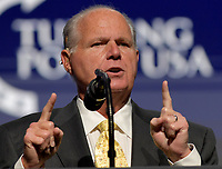 **FILE PHOTO** Rush Limbaugh Has Passed Away.<br /> <br /> WEST PALM BEACH, FL - DECEMBER 21: Rush Limbaugh speaks at the 2019 Turning Point USA Student Action Summit - Day 3 at the Palm Beach County Convention Center on December 20, 2019 in West Palm Beach, Florida.<br /> CAP/MPI122<br /> ©MPI122/Capital Pictures