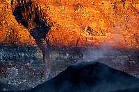Steaming vent near the 1940 cone in Mokuaweoweo caldera at sunrise Mauna Loa volcano 13679' Hawaii, USA volcanoes national park the Big Island of Hawaii, USA