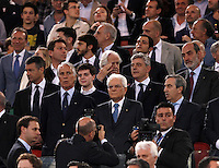 Calcio, finale Tim Cup: Milan vs Juventus. Roma, stadio Olimpico, 21 maggio 2016.<br /> From left, CONI's president Giovanni Malago', Italian President Sergio Mattarella and Senate's deputy speaker Maurizio Gasparri on the stand during the Italian Cup final football match between AC Milan and Juventus at Rome's Olympic stadium, 21 May 2016.<br /> UPDATE IMAGES PRESS/Isabella Bonotto