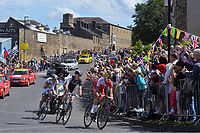 Cycling: 101th Tour de France / Stage 1 <br /> EDET Nicolas (FRA)/ VOIGT Jens (GER)/ JARRIER Benoit (FRA)/ Public Publiek Spectators / Fans Supporters / <br /> Leeds - Harrogate (190,5Km)/  Otley<br /> Ronde van Frankrijk TDF Etape Rit (c) Tim De Waele COPYRIGHT WARNING : THIS IMAGE IS RIGHTS MANAGED AND THE COPYRIGHT MAY SIT WITH A THIRD PARTY PLEASE CONTACT simon@swpix.com BEFORE DOWNLOAD AND OR USE