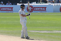 Robbie White of Middlesex raises his bat to celebrate scoring fifty runs during Sussex CCC vs Middlesex CCC, LV Insurance County Championship Division 3 Cricket at The 1st Central County Ground on 7th September 2021