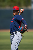 Cleveland Indians Grofi Cruz (15) warms up before an instructional league game against the Milwaukee Brewers on October 8, 2015 at the Maryvale Baseball Complex in Maryvale, Arizona.  (Mike Janes/Four Seam Images)