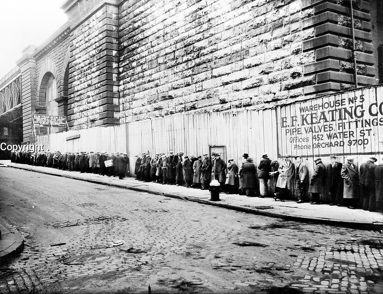 No Known Restrictions: Bread Line Beside the Brooklyn Bridge, ca. 1930s by OWI (LOC)