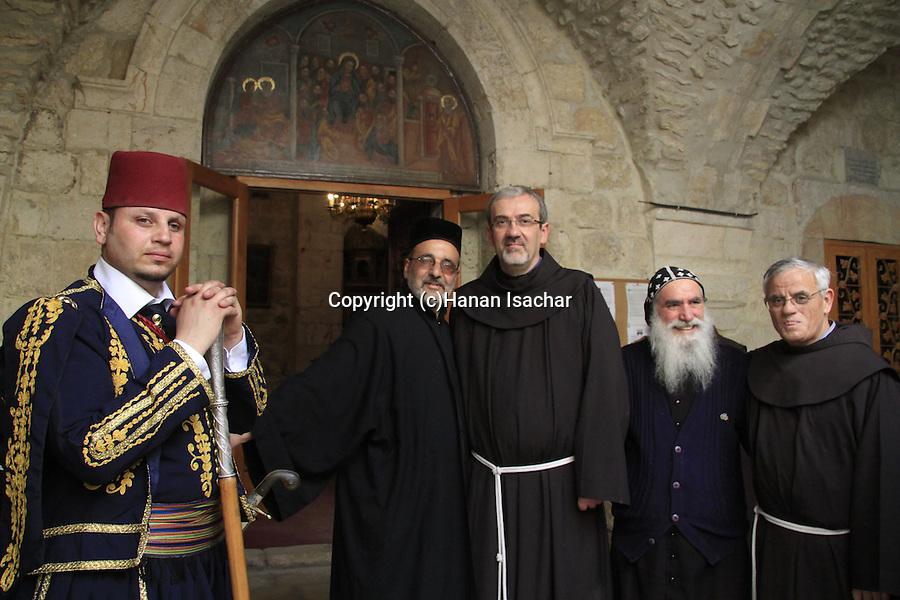 Israel, Jerusalem, the Custos of the Holy Land Fr. Pierbattista Pizzaballa ofm at the Syrian Orthodox St. Mark's Church on Holy Thursday