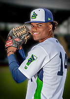 13 June 2018: Vermont Lake Monsters pitcher Jose Mora poses for a portrait on Photo Day at Centennial Field in Burlington, Vermont. The Lake Monsters are the Single-A minor league affiliate of the Oakland Athletics, and play a short season in the NY Penn League Stedler Division. Mandatory Credit: Ed Wolfstein Photo *** RAW (NEF) Image File Available ***