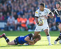 Johnny Leota of Sale Sharks is tackled by Sam Vesty of Bath Rugby during the Aviva Premiership match between Bath Rugby and Sale Sharks at the Recreation Ground on Saturday 29th September 2012 (Photo by Rob Munro)