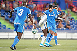 Getafe CF's Mathias Olivera (r) and Allan Nyom during friendly match. August 10,2019. (ALTERPHOTOS/Acero)