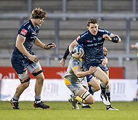 27th December 2020; AJ Bell Stadium, Salford, Lancashire, England; English Premiership Rugby, Sale Sharks versus Wasps; Sam James of Sale Sharks is tackled