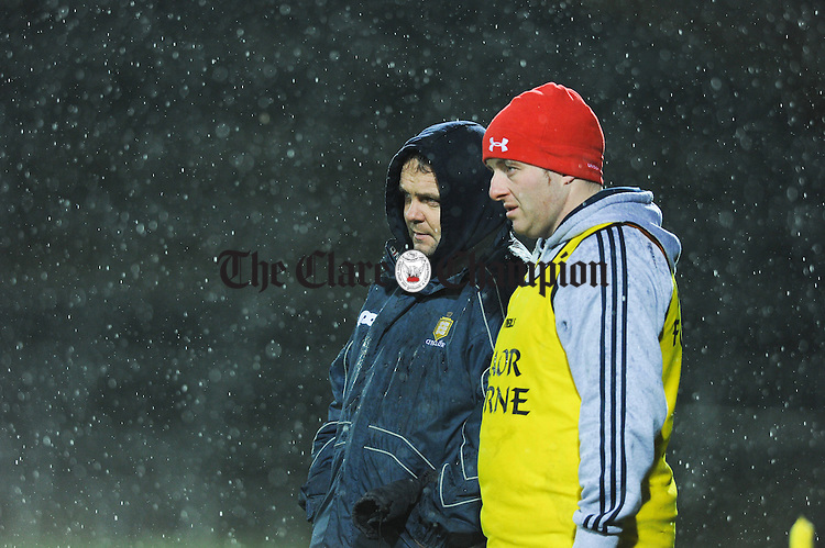 Clare manager David Fitzgerald and runner/selector Saoirse Bulfin on the sideline during their Waterford Crystal Final at The Gaelic Grounds. Photograph by John Kelly.