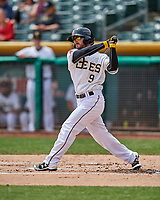 Shane Robinson (9) of the Salt Lake Bees follows through on his swing against the El Paso Chihuahuas in Pacific Coast League action at Smith's Ballpark on April 30, 2017 in Salt Lake City, Utah. El Paso defeated Salt Lake 3-0. This was Game 1 of a double-header. (Stephen Smith/Four Seam Images)