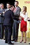 Chef Jose Andres shakes hands with Spain's crown Prince Felipe and Princess Letizia during a ceremony to designate Spain Brand ambassadors. February 12, 2013. (ALTERPHOTOS/Alvaro Hernandez)