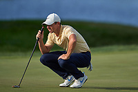 29th August 2020, Olympia Fields, Illinois, USA;  Rory McIlroy of Northern Ireland looks to line up a putt on the 18th green during the third round of the BMW Championship on the North Course at Olympia Fields Country Club