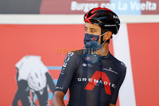 Egan Bernal (COL) Ineos Grenadiers at sign on before Stage 3 of La Vuelta d'Espana 2021, running 202.8km from Santo Domingo de Silos to Picon Blanco, Spain. 16th August 2021.    <br /> Picture: Luis Angel Gomez/Photogomezsport | Cyclefile<br /> <br /> All photos usage must carry mandatory copyright credit (© Cyclefile | Luis Angel Gomez/Photogomezsport)