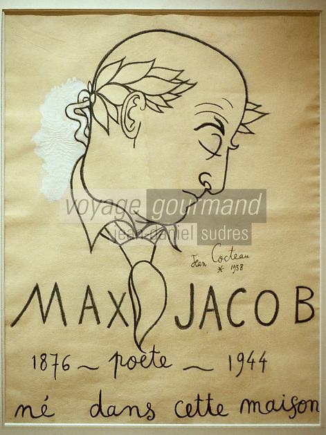 Europe/France/Bretagne/29/Finistère/Quimper : Musée des Beaux Arts, portrait de Max Jacob par Jean Cocteau 1958