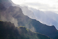 Aerial view of the mountains of the Na Pali Coast, Kauai