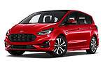 Stock pictures of low aggressive front three quarter view of 2021 Ford S-Max ST-Line 5 Door Mini MPV Low Aggressive
