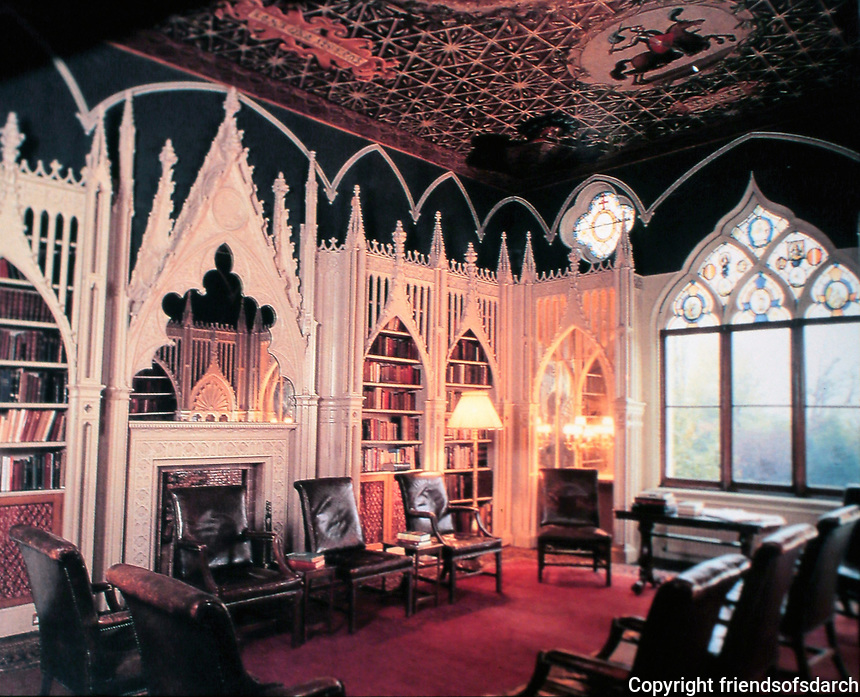 Strawberry Hill--Library. Home of Horace Walpole. Gothic style.